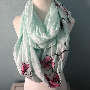 🌸 Boutique | teal and pink floral infinity scarf